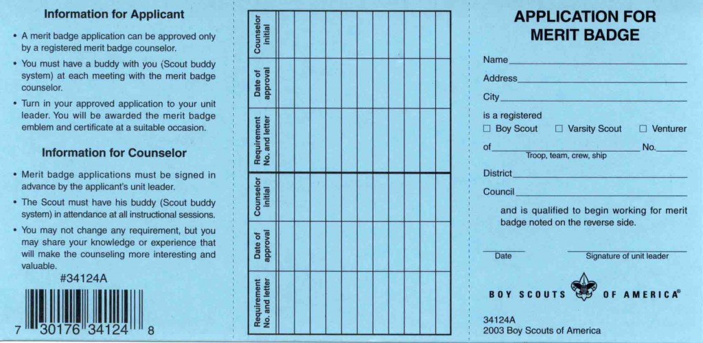 Metalwork Merit Badge Merit Badge Blue Card Change